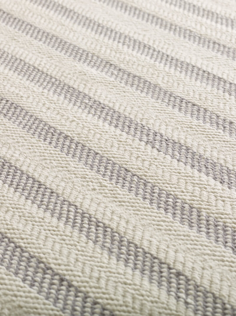 Braid Silhouette Stripe Ivory/Grey flatweave rug handmade in 100% wool - detail image