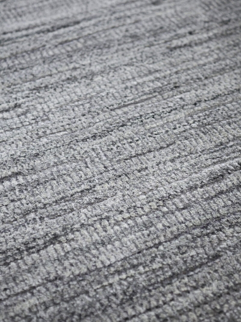 Melrose Charcoal handloom knotted NZ wool and artsilk rug in grey tones
