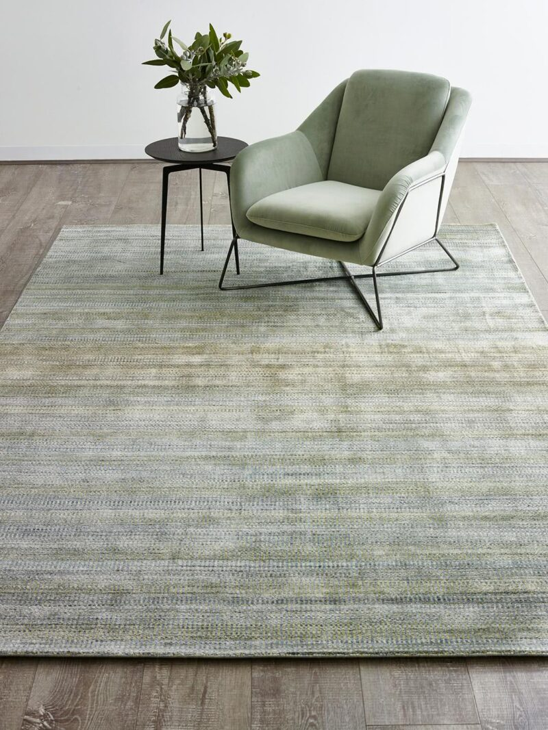 Melrose Green handloom knotted NZ wool and artsilk rug in multi-tone colour gradient