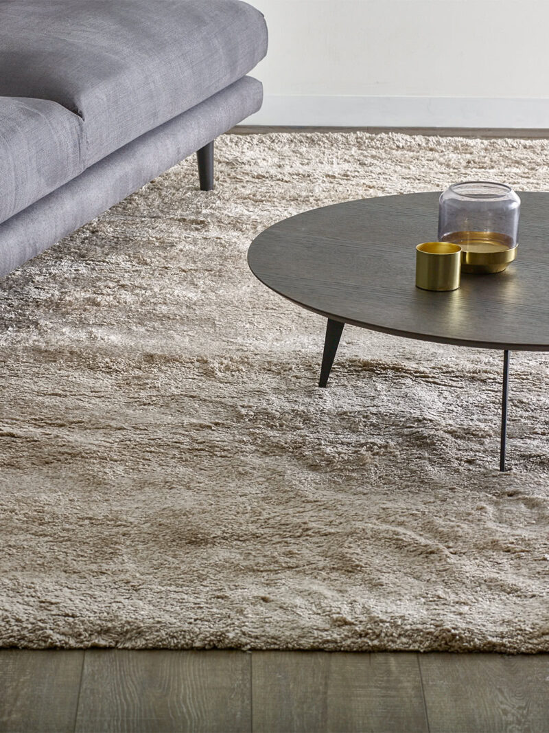 Bambusa Oyster beige thick shag pile rug handtufted in lusterous bamboo yarn