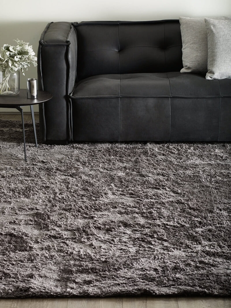 Bambusa Storm thick grey shag pile rug handtufted in lusterous bamboo yarn