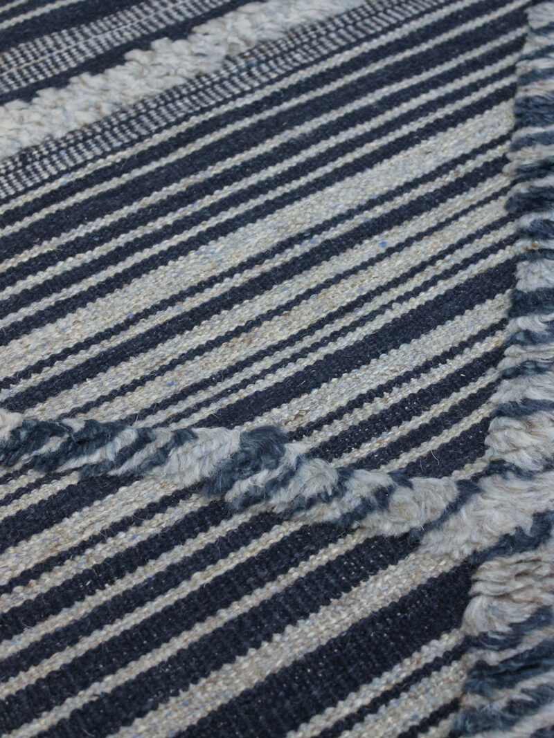 Salerno Blue navy and grey textured rug handmade in wool - detail image