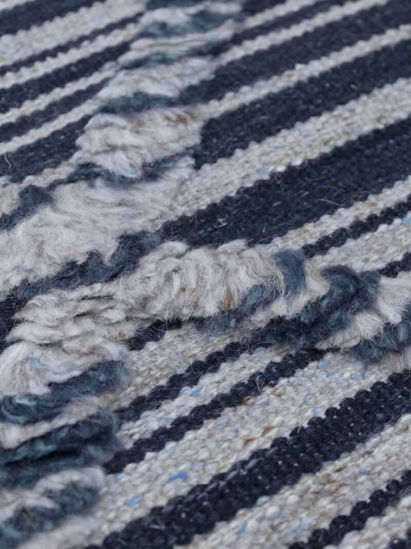 Salerno Blue navy and grey textured rug handmade in wool - close up texture image