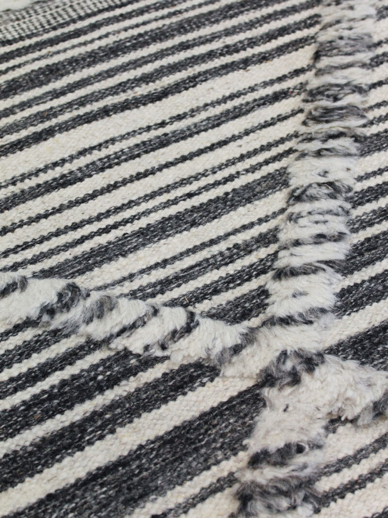 Salerno Charcoal and White textured rug handmade in wool - detail image