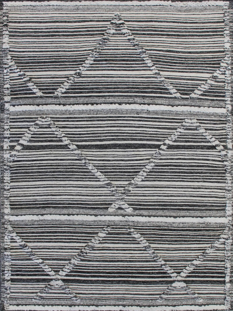 Salerno Charcoal and White textured rug handmade in wool - overhead image