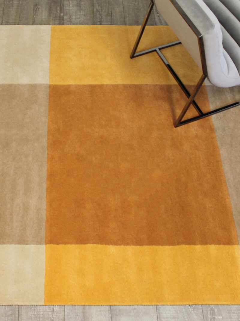 Patch Beige/Mustard modern square grid rug - lifestyle image